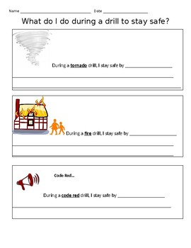 Fire, Tornado, and Code Red (Intruder) Drills Writing Activity