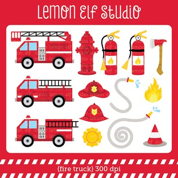 Fire Truck-Digital Clipart (LES.CL53)