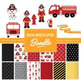 Fire Truck & Rescue Pup Clip Art and Digital Paper Set Bundle