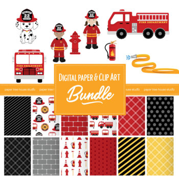 Fire Truck & Rescue Pup Clip Art and Digital Paper Set Bundle