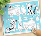 Fire Trucks Dalmatian Clipart - BLACKLINE - color me, with outlines