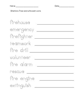 Fire Vocabulary Word Search and Activities