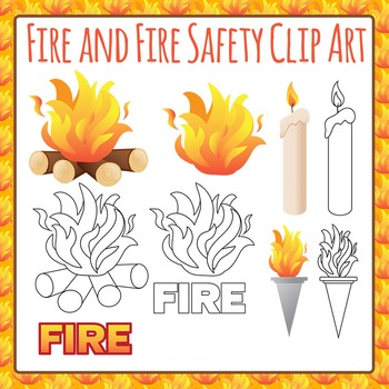 Fire and Fire Safety Clip Art Set for Commercial Use
