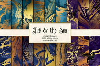 Fire and the Sea digital paper textures, gold marble shimmer ocean backgrounds