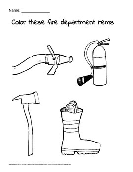 Fire department coloring printable handout for motor skills and fun