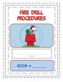 Fire drill procedures sign with Snoopy