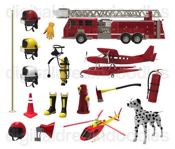 Fire fighter Clip Art - Fireman Truck Digital Graphics