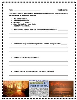 Fire in Yellowstone comprehension questions