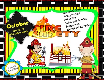 Fire safety Week booklet (Book/Flash cards/posters/Activities/Worksheets)