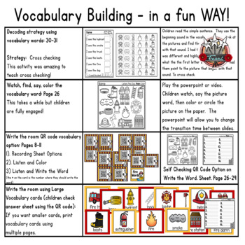 Firefighter Activities: QR Codes Read and Color Vocabulary Builder