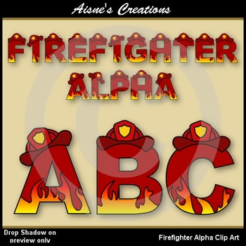 Firefighter Alphabet & Numbers Clip Art