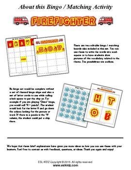 Firefighter Bingo Matching Activities