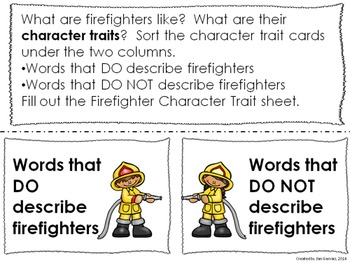 Firefighter Character Traits FREEBIE