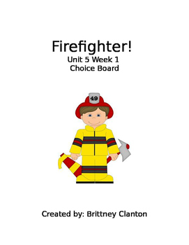 Firefighter! Choice Board for Centers