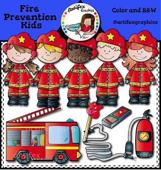 Fire safety Clip art- Color and black/white- 54 items!*Firefighter Clip Art*
