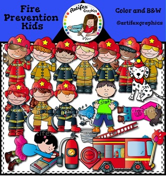 Fire safety Clip art- Color and black/white- 54 items!*Fir