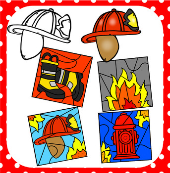 """(super discount) Firefighter """"Color By Code"""" Clipart"""