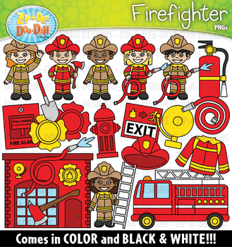 Firefighter Community Helpers Clipart {Zip-A-Dee-Doo-Dah Designs}