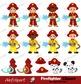 Firefighter Digital Clipart, Fireman boys Clip art, Fire truck .