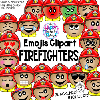 Firefighter Emojis Clip Art  {The Happy Teacher's Palette Clip Art}