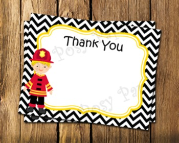 Firefighter Flat Thank You Note Cards