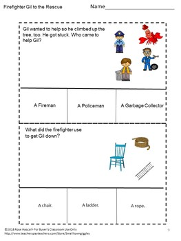 Firefighter Gil to the Rescue Cut Paste Book Study Activities P-K,K, Special Ed.