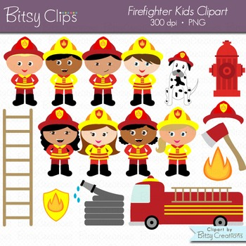 Firefighter Kids Digital Art Set Clipart Commercial Use Clip Art Fireman Clipart