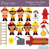 Firefighter Kids Digital Art Set Clipart Commercial Use Cl