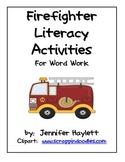 Firefighter Literacy Activities for Word Work