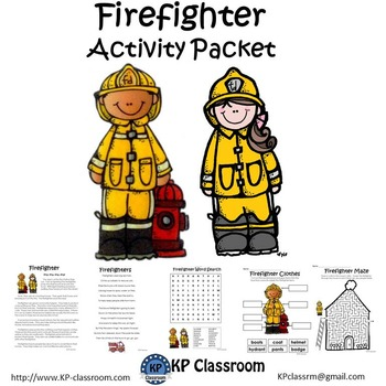 Firefighter No Prep Activity Packet and Worksheets