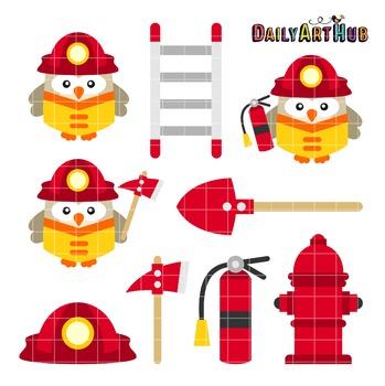 Firefighter Owls Clip Art - Great for Art Class Projects!