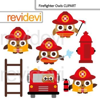 Firefighter Owls Clip Art by Revidevi