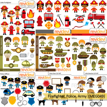 Firefighter Police Army Clipart (community service clip art)