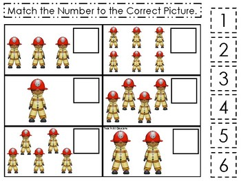 Professions-Firefighter themed Match the Number Game. Printable Preschool Game