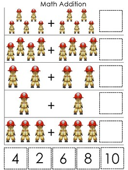 Professions-Firefighter themed Math Addition Game. Printable Preschool Game