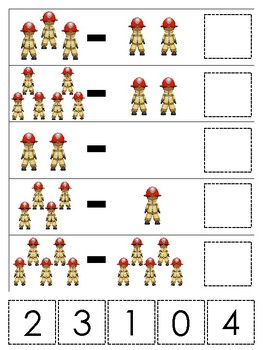 Professions-Firefighter themed Math Subtraction Game. Printable Preschool Game