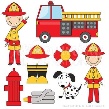 Firefighter Stick Figures Cute Digital Clipart, Fire Truck Graphics