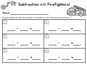 Firefighter Subtraction Center Numbers below 10 {Freebie}