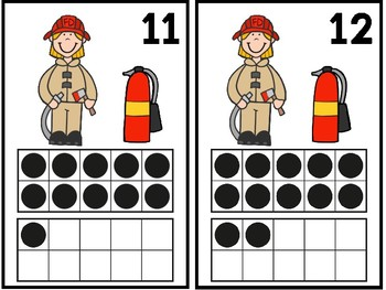 Firefighter Ten Frame Mats 1-20