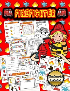 Firefighter Themed Activity Set / Worksheets + Flashcards