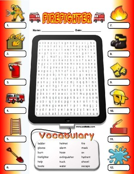 Firefighter Vocabulary Identify Activity
