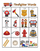 Firefighter Words for writing center and write-the-room