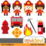 Fire Safety Clip Art, Firefighter girls clipart