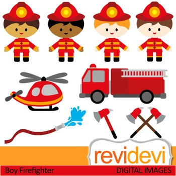 Firefighter clip art (kids, boys) clipart