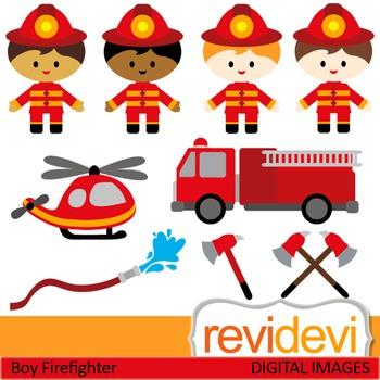 Firefighter clip art (kids, boys) clipart