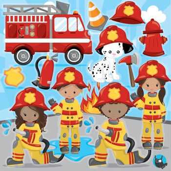 Firefighter clipart commercial use, vector graphics, digital  - CL1012