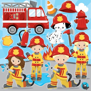 Firefighter clipart commercial use, vector graphics, digit