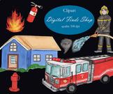 Firefighter clipart, fireman clipart, fire truck clipart, house clipart