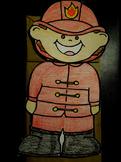 Firefighter paper bag puppet