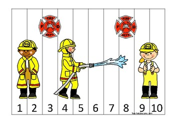 Firefighter themed 1-10 Number Sequence Puzzle Game. Printable Preschool